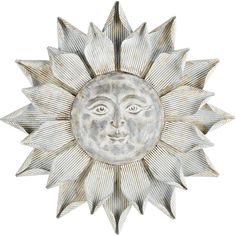 Pier 1 Imports Sun Galvanized Wall Decor ($100) ❤ liked on Polyvore featuring home, home decor, wall art, silver, pier 1 imports, flower stem, flower wall art, flower home decor and sun wall art