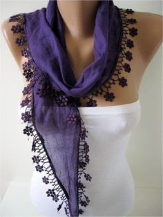 New Elegant Scarf  Cotton Scarf with Trim Edge Gift by ...