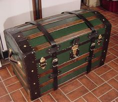 100+ year old Antique Dome Top Captains Sea Chest or Pirates Treasure