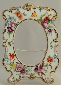 D & Co. Delinieres Limoges France Porcelain Picture Frame Scalloped Embossed Hand Painted, ca 1894-1900 - For sale on Ruby Lane - Ruby Red Tag Sale
