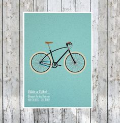 Bicycle Art Wall Decor - 'Ride A Bike' Poster : Illustration 8 X 10 Modern Art Retro Poster Print Blue Cream Black