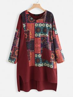 Cheap best O-NEWE Irregular Print Patchwork Vintage Plus Size Dress on Newchic, there is always a plus size print dresse suits you! Embroidery On Kurtis, Kurti Embroidery Design, Plus Size Vintage Dresses, Plus Size Dresses, Themed Outfits, Chic Outfits, Vestido Casual, Vestidos Vintage, Sewing Clothes