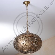 Lámpara grande de cobre ovalada | artesanía-marroquí.com