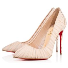 Christian Louboutin Follie Draperia Chiffon Rosette Stiletto Sz 39.5 Beige Pumps. Get the must-have pumps of this season! These Christian Louboutin Follie Draperia Chiffon Rosette Stiletto Sz 39.5 Beige Pumps are a top 10 member favorite on Tradesy. Save on yours before they're sold out! Beige High Heels, Beige Pumps, Beige Shoes, Purple Shoes, White Heels, Patent Heels, Stiletto Pumps, Pumps Heels, Louboutin Beige