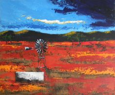 Karoo Landscape Canvas Paintings, Landscape Paintings, South African Artists, Windmills, Inspiring Art, Art Techniques, Beautiful Things, Artworks, Stencils