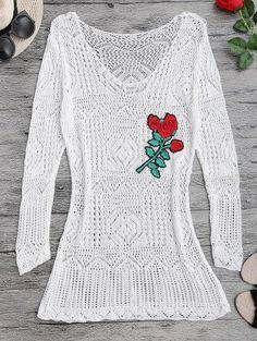 Zaful - Zaful Open Stitch See Thru Beach Cover Up Dress - AdoreWe.com