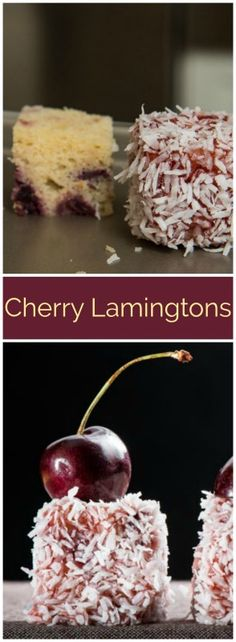 Cherry Lamingtons - Easy to Mix and Bake - The Finer Cookie Delicious Cookie Recipes, Best Cookie Recipes, Bar Recipes, Dessert Recipes, Recipies, Yummy Food, Quick Easy Desserts, Just Desserts, Lamingtons Recipe