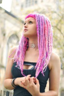 Pink and purple dreads look like candies :)