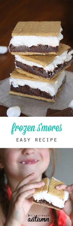 Frozen s'mores! Layers of chocolate pudding and marshmallow cheesecake sandwiched between graham crackers and frozen for the perfect summer treat!