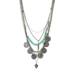 Tiny Treasures Necklace in Antique Silver with Turquoise, Coins, Feath – Ettika