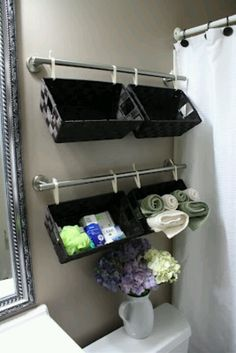 Under wall cabinet, above toilet?  Lotions and perfumes?