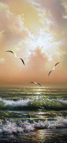 Seagulls • artist: Yuri Vershinin.  the translucence of the water is just incredible!  This is a painting!!!