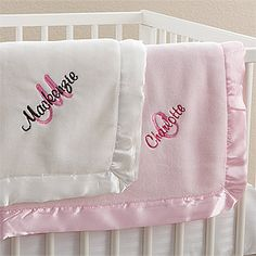 Personalized Baby Blankets for Girls (and boys!) - These blankets are SO soft and cozy and the embroidery is not only beautiful - it's free! PersonalizationMall has the best stuff! #Baby #Monogram