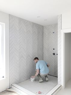 This chevron tile paired with a medium hex on the floor is underway at this project I have been working on at Tobiano Master Bathroom Shower, Upstairs Bathrooms, Modern Bathroom, Modern Shower, Chic Bathrooms, Contemporary Bathrooms, Bathroom Vanities, Chevron Bathroom, Chevron Tile