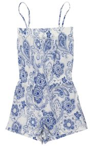 paisley print in blue cotton jumpsuit for girls