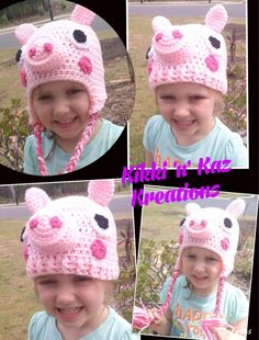 Crocheted Peppa  Pig Hat by KikkinKazKreations on Etsy