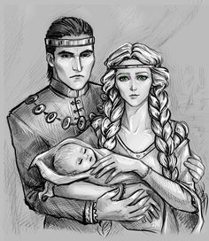 Emhyr, Pavetta and Ciri by Anastasia Kulakovskaya (Witcher)