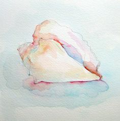 water color seashells | Details about Original Mini Painting Conch Seashell Watercolor Ocean ...