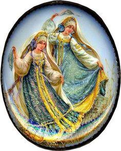 "Fedoskino. Russian Lacquer Art Titled ""A Russian Dance"" ~ Artist Margarita Belova"