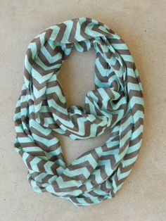 Chocolate and Mint Chevron Circle Scarf <3 #chevron #infinity #loopscarf