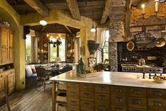 Unique Natural-Themed House from Ancient Time: Beautiful Classic Kitchen Design Beams Ceiling Dallas Fantasy Project ~ gozetta.com Architecture Inspiration