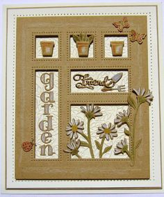 Good morning all! We are starting off with the Shadow Box collection this morning. Shown here, the In The Garden Shadow Box has a lov. Card Making Inspiration, Making Ideas, Shadow Box, Quilling, Spellbinders Cards, Sue Wilson, Scrapbooking, Fathers Day Cards, Masculine Cards