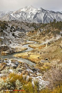 Hot Creek After Spring Snow, Owens Valley, Eastern Sierras, Central California by Bob Kent