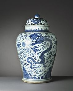 An early Kangxi underglaze blue jar and cover decorated with flaming pearls and dragons amongst flames. Photos courtesy Vanderven Oriental Art.