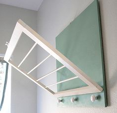 DIY: Laundry Drying rack- perfect for our small laundry room. Laundry Room Drying Rack, Drying Rack Laundry, Laundry Room Storage, Drying Racks, Laundry Rooms, Laundry Hanger, Clothes Storage, Clothes Hanger, Basement Laundry