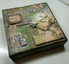 6 inch canvas decorated with 7 Gypsies Archtextures - blog post for #mixedupmag by Erica Evans