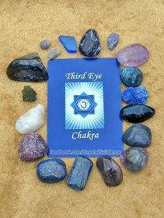 THIRD EYE CHAKRA CRYSTALS (listed   clockwise starting with the upper right hand corner): Amethyst, Apatite,   Azurite, Covellite, Dumortierite, Fluorite, Iolite, Kyanite, Lapis Lazuli,   Lepidolite, Rainbow Moonstone, Moldavite, Pietersite, Sapphire, Blue Siberian   Quartz, Sodalite, Tanzanite.   This is by no means all of the Third Eye chakra   crystals, but these are among some of my favorites.