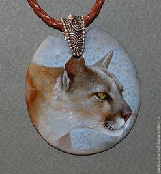 Купить Пума - лаковая миниатюра, лаконичное украшение, живопись маслом, живопись на камне