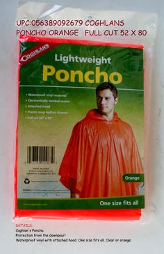 2e9f6761df Protection from the downpour! Waterproof vinyl with attached hood. One size