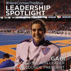 Follow @bsubluethunder's Leadership Spotlight series to learn more about our hardworking and talented students in the #BoiseState Blue Thunder Marching Band! Go Broncos!   Blue Thunder Marching Band member Gabi is both a piccolo section leader and Blue Thunder Band Council President.She's a 4th-year member from Puyallup Washington.At Boise State Gabi studies Elementary Education with an endorsement in Literacy. After college she plans to either teach in Boise or apply for the non-profit…