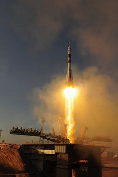 Up CloseThe launch of Soyuz TMA-19M seen from 113 m by an automatic camera – standing this close to 274 tonnes of rocket fuel would not be a good idea. ESA's photographer Stephane Corvaja placed five...