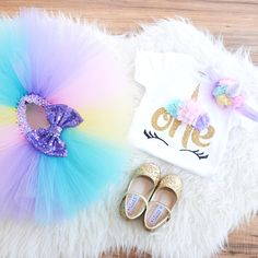 Unicorn First Birthday Outfit extra fluffy unicorn tutu for