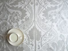 Marimekko Tablecloth white grey silver damask leaves tree flowers , also table runner , napkins , pi Buckwheat Hull Pillow, Red Wine Stains, Marimekko, Burning Candle, Linen Fabric, Fabric Patterns, Table Runners, Damask