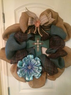 Burlap turquoise cross wreath with paper scripture flower with lace ribbon in purple, teal and brown burlap plus satin flower