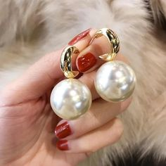 Charm Jewelry Personality Simulated Pearl Earrings For Women White Red Big Ball Earring Fashion Jewelry Bijoux | Touchy Style Pearl Earrings Wedding, Pearl Drop Earrings, Women's Earrings, Fashion Earrings, Fashion Jewelry, Jewelry Party, Bridesmaid Jewelry, Charm Jewelry, Women Jewelry