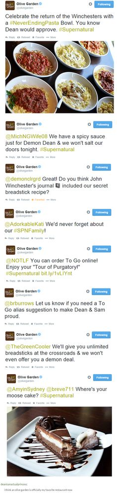 Turns out Olive Garden is a huge fan of SPN. Who knew!? Haha! This is incredible.