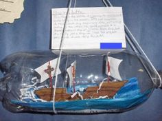 Ship in a bottle made from a 2 liter pop bottle.