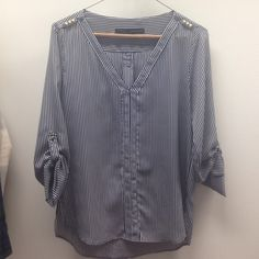 Zara blue and white striped blouse Silk pinstriped v neck shirt with gold studs on the sleeves and shoulder. Great for work or out! Zara Tops Blouses