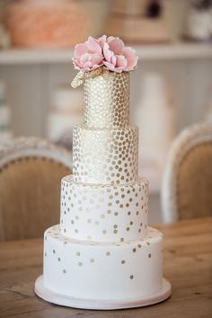 Hand Painted Gold Sequins Wedding Cake
