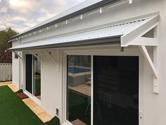 Timber Awnings hand made in Perth WA, Traditional Timber Awnings for traditional homes and new homes, colorbond roof, selection of awning bracket designs, bull nose or straight Awnings in Perth WA Metal Awnings For Windows, House Awnings, Aluminum Awnings, Timber Windows, Window Awnings, Exterior Windows, Awning Over Door, Porch Awning, Porch Roof