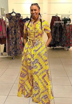 Africa Fashion 527061962641969357 - Yellow African prints button up full length jumpsuit Source by aliounemboup African Fashion Ankara, African Fashion Designers, Latest African Fashion Dresses, Nigerian Fashion, Long African Dresses, African Print Dresses, Long Dresses, Dress Long, Ankara Gown Styles