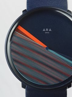 Logodesign for the swiss watch ARA who creates a constant changing moiré effect trough the special shape of its indicators.