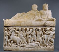 Marble Sarcophagus with Scenes from the Life of Achilles; Roman, Athens, A.D. 180-220, Getty Museum, Malibu