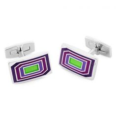 Luxury Cufflinks Collection Under-Engraved Waffle Texture Purple & Green Dur-Enamel Rhodium Plated 21mm x 12mm Luxury Fastening