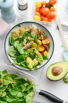 Light and refreshing - perfect for a post-holiday meal. this easy grain bowl is super easy and clean eating. Healthy Turkey Recipes, Healthy Soup, Lunch Recipes, Real Food Recipes, Salad Recipes, Delicious Recipes, Vegan Recipes, Leftovers Recipes, Healthy Side Dishes