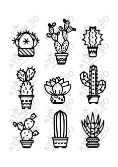 9 CACTUS design file for Silhouette or other cutting por Succulent Tattoo, Cactus Tattoo, Cactus Design, Cactus Silhouette, Cactus Drawing, Watercolor Cactus, Traditional Tattoo Old School, Cactus Decor, Silhouette Portrait